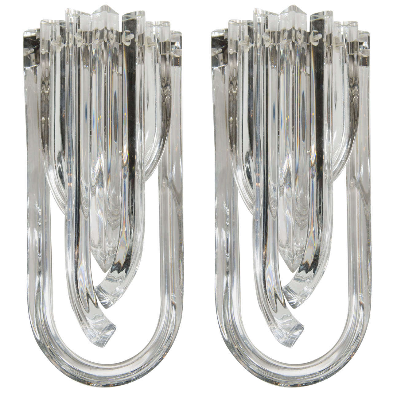 Gorgeous Pair of Modernist Murano Glass Ribbon Sconces 1