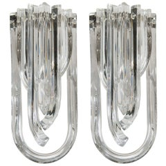 Modernist Pair of Handblown Translucent Murano Glass Ribbon Sconces