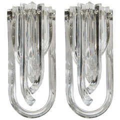 Gorgeous Pair of Modernist Murano Glass Ribbon Sconces