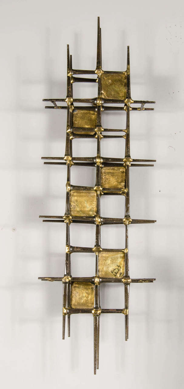 Mid Century Brutalist Brass Wall Sculpture By Ron Schmidt