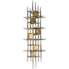 Mid-Century Brutalist Brass Wall Sculpture by Ron Schmidt