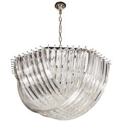 Large Modernist Murano Glass Ribbon Chandelier