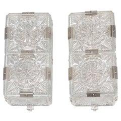 Pair of Mid Century Modern Sunburst Design Etched Glass Sconces by Kinkeldey
