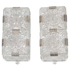 Pair of Mid Century Modernist Sunburst Design Etched Glass Sconces by Kinkeldey
