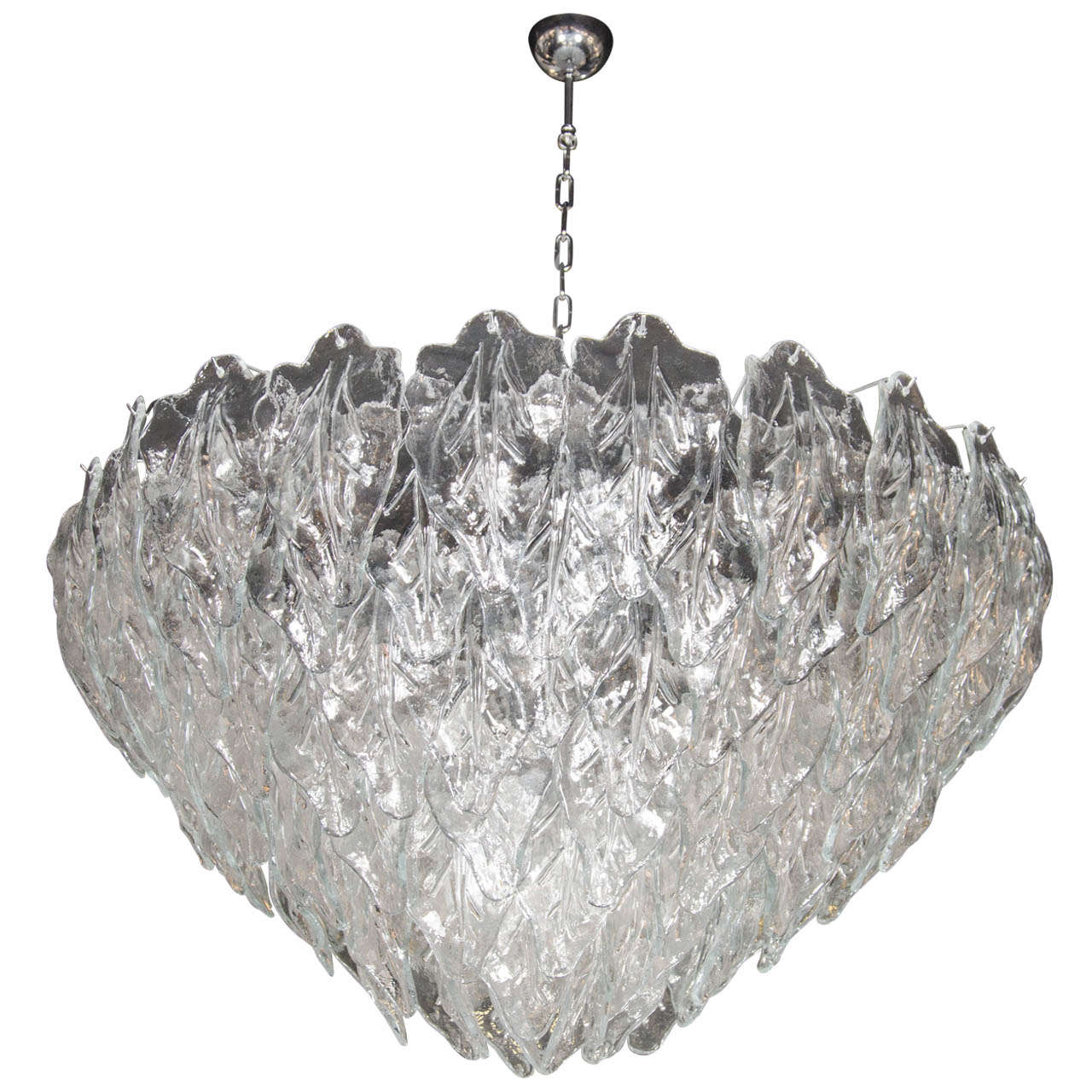 Opulent Murano Hand Blown Glass Leaf Chandelier At 1stdibs