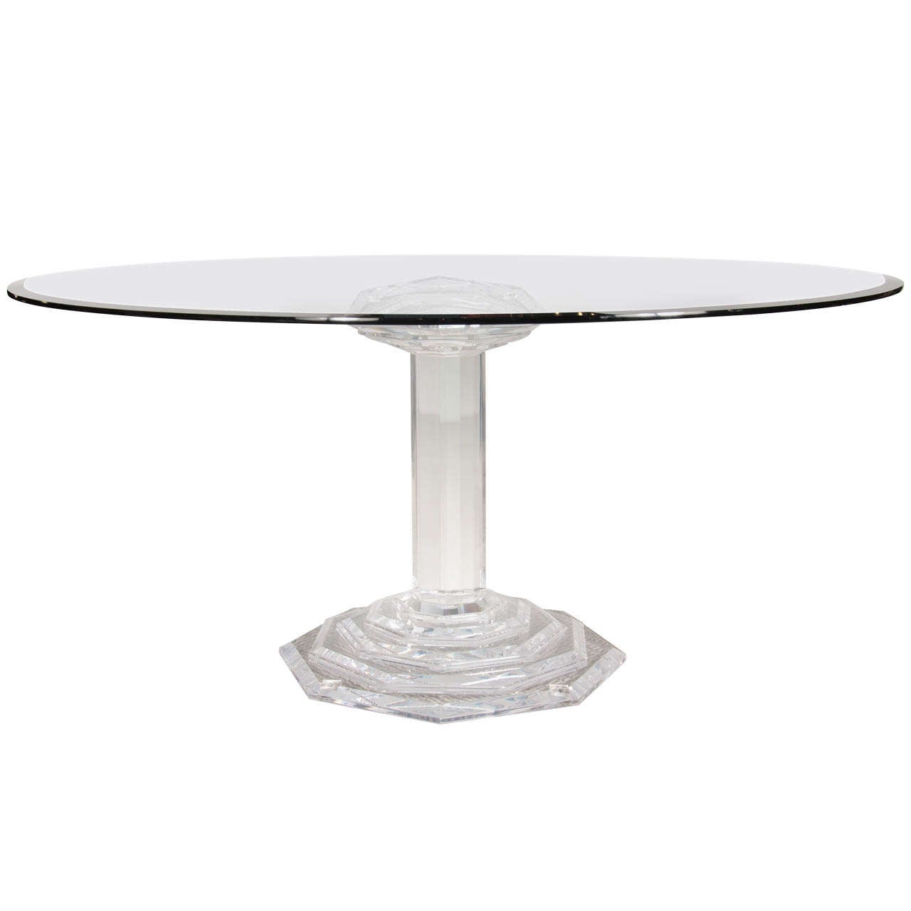 Lucite Dining Room Table: Mid CenturyModernist Lucite And Glass Round Dining Table