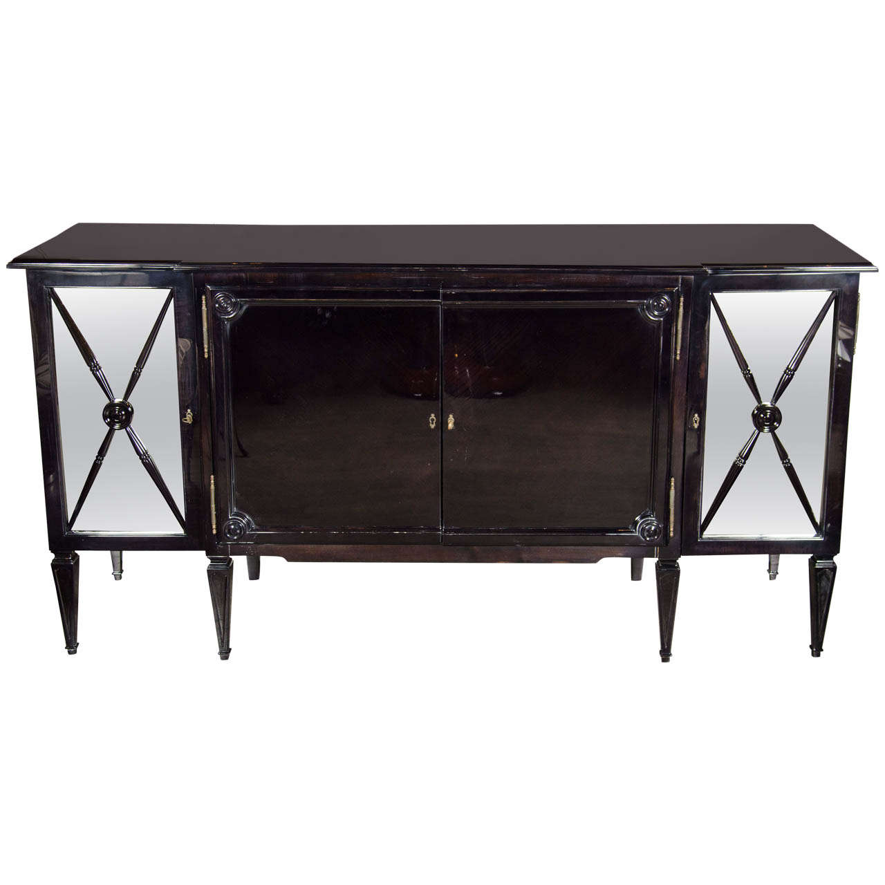 Elegant Mid Century Ebonized Walnut Sideboard W Mirrored