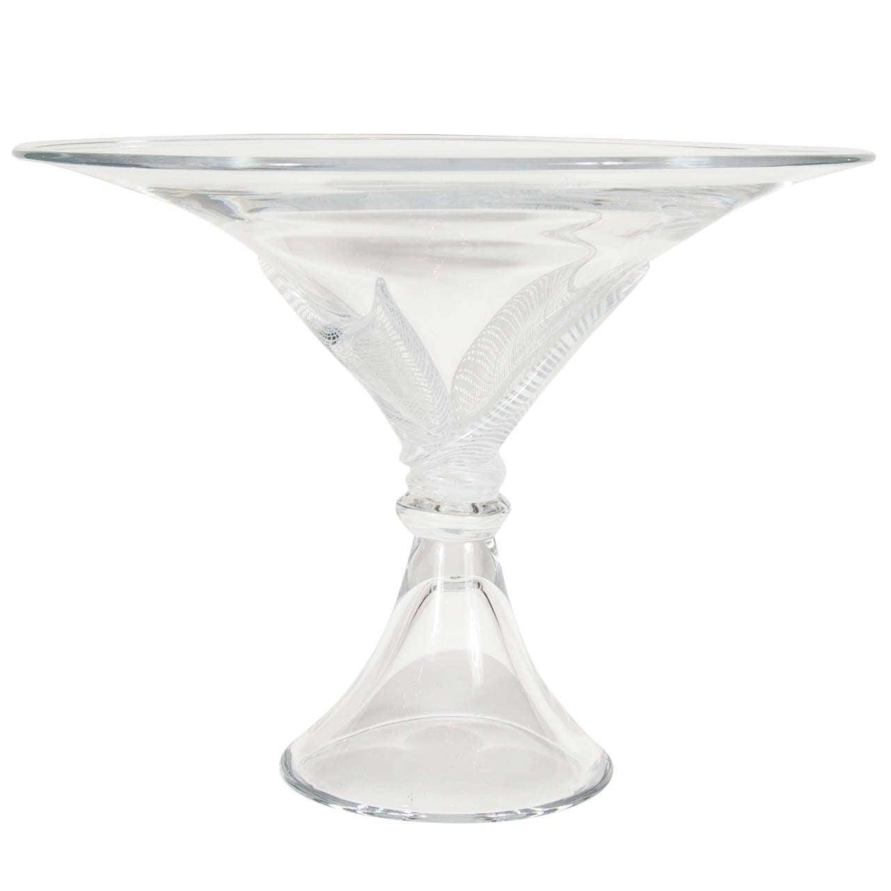 Stunning  Licio Zanetti Hand Blown Glass Footed Bowl