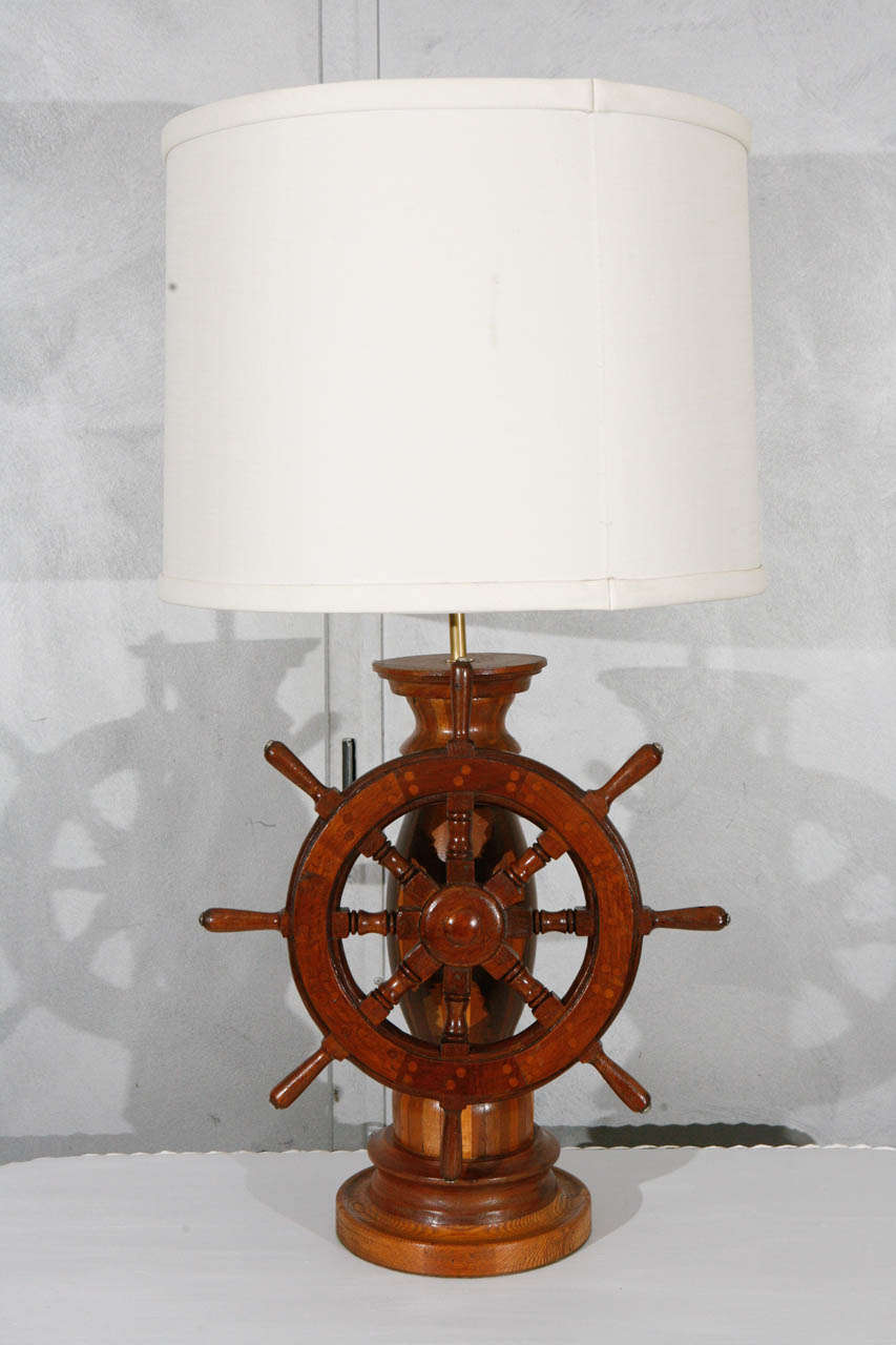 1950 S American Shop Art Lamp With Ships Wheel And Linen
