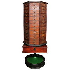 General Store Cabinet on Revolving Stand Early 20th Century.