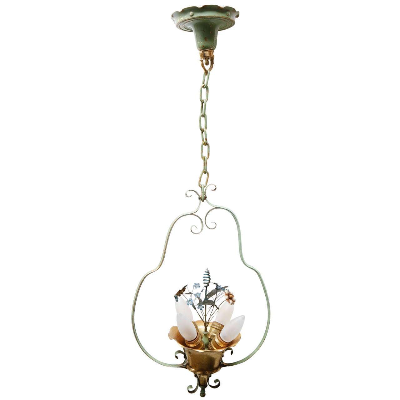 French Mid Century Flower Basket Hanging Light At 1stdibs
