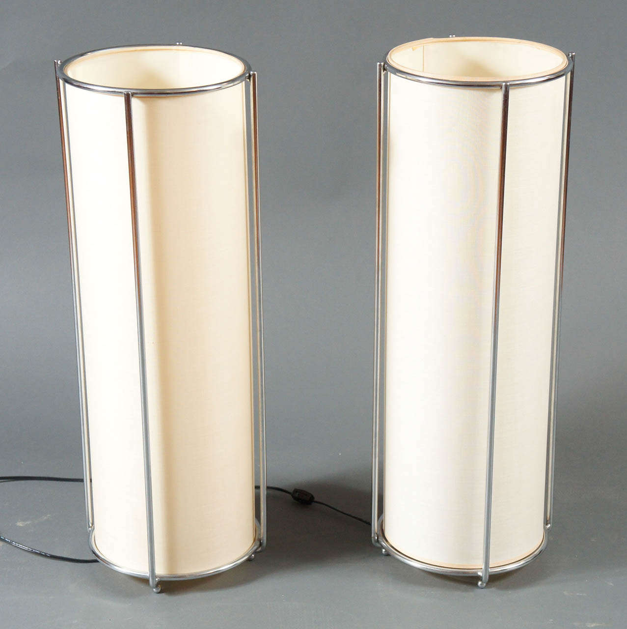 Pair Of Chrome Cylinder Table Lamps 2