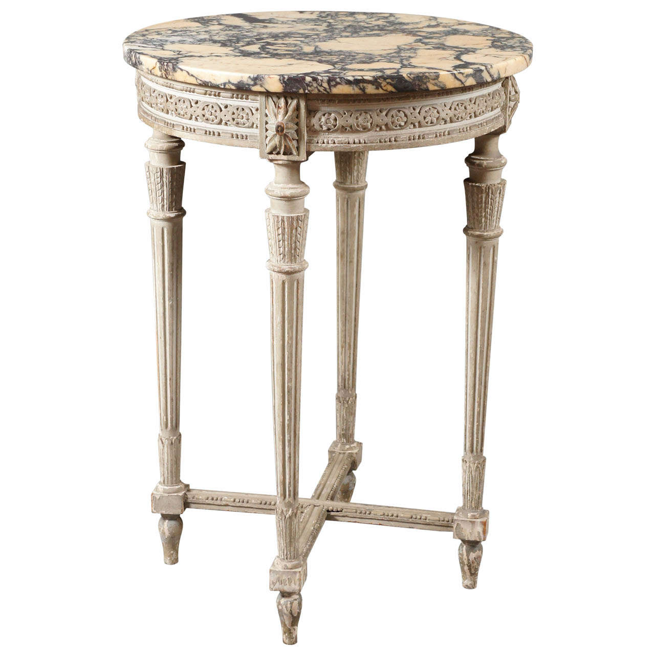 Single french side table with beautiful marble top for Beautiful end tables