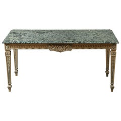French 1940s Marble-Top Table with Brass Base