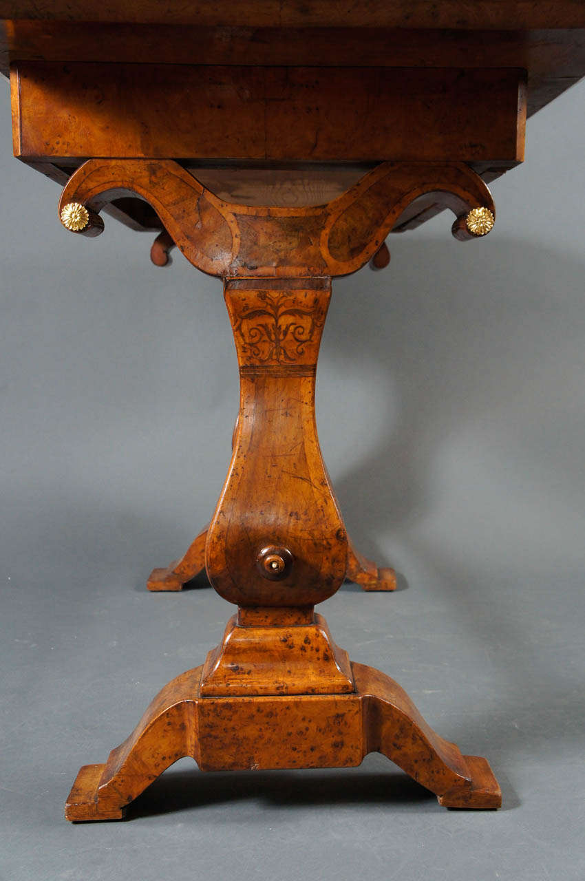 Biedermeier Desk with Burl and Inlay For Sale 5