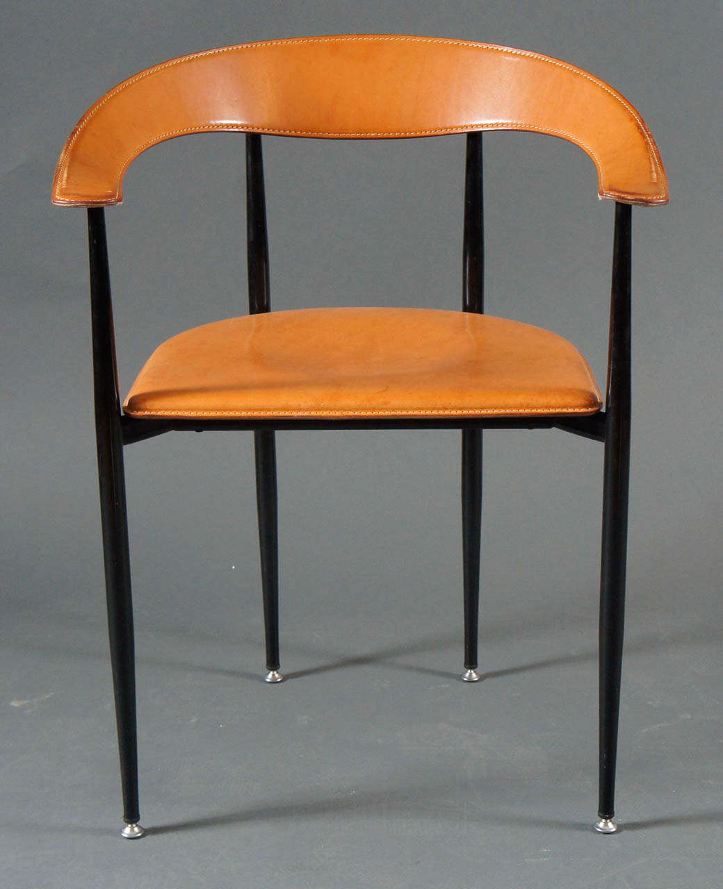 Set of 8 italian leather and metal chairs at 1stdibs for Leather and steel dining chairs