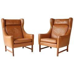 Vintage Borge Mogensen Style Leather Armchairs
