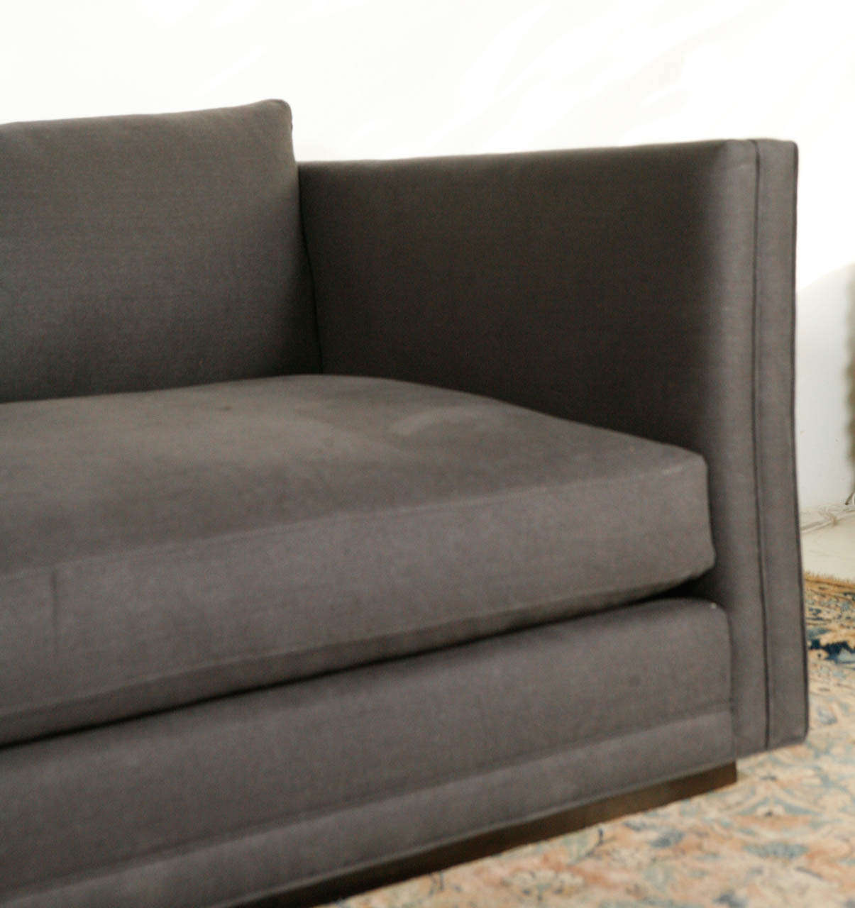 Nk collection modern sofa in grey linen for sale at 1stdibs Modern sofa grey