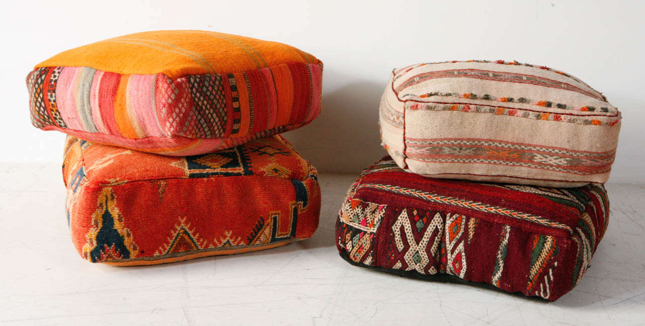 Various Vintage Moroccan Rug Poufs / Ottomans 2