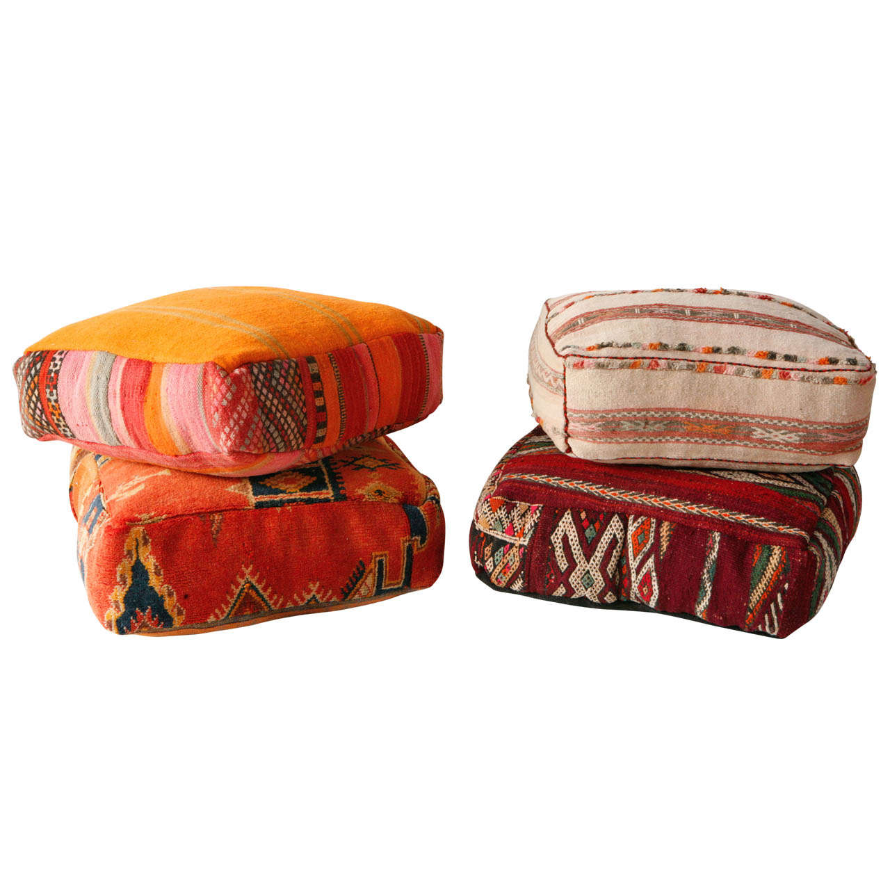 Various Vintage Moroccan Rug Poufs / Ottomans 1
