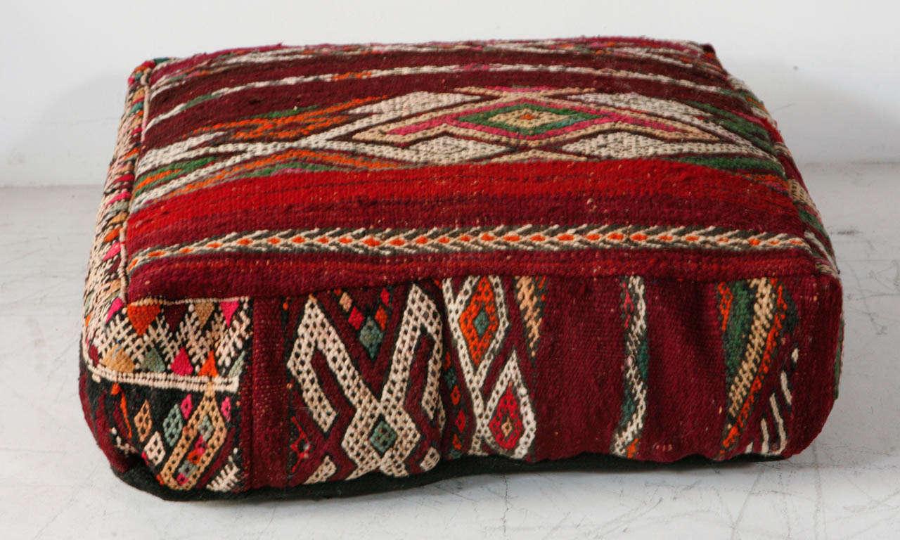 Various Vintage Moroccan Rug Poufs / Ottomans 3