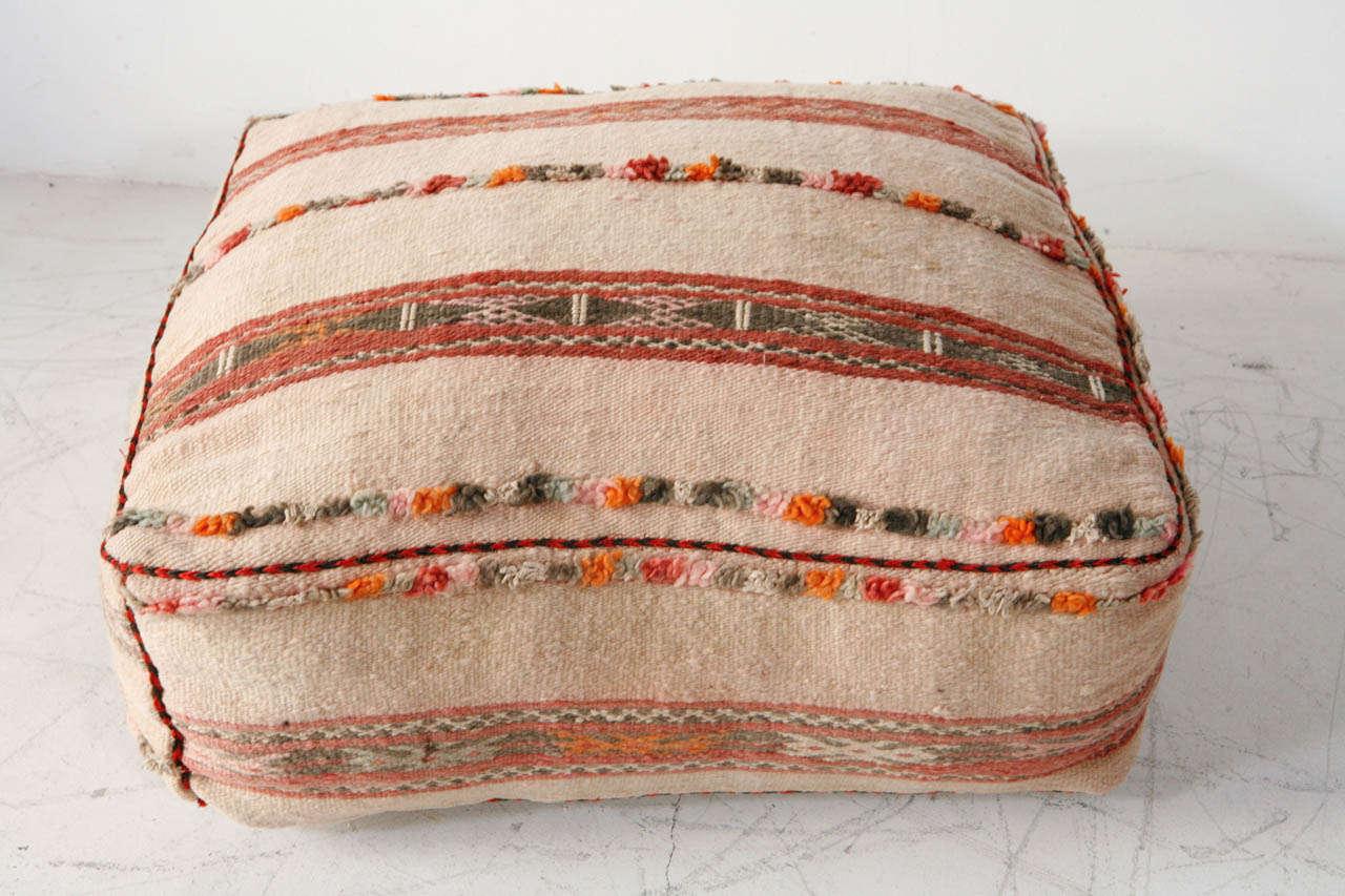 Various Vintage Moroccan Rug Poufs / Ottomans 4