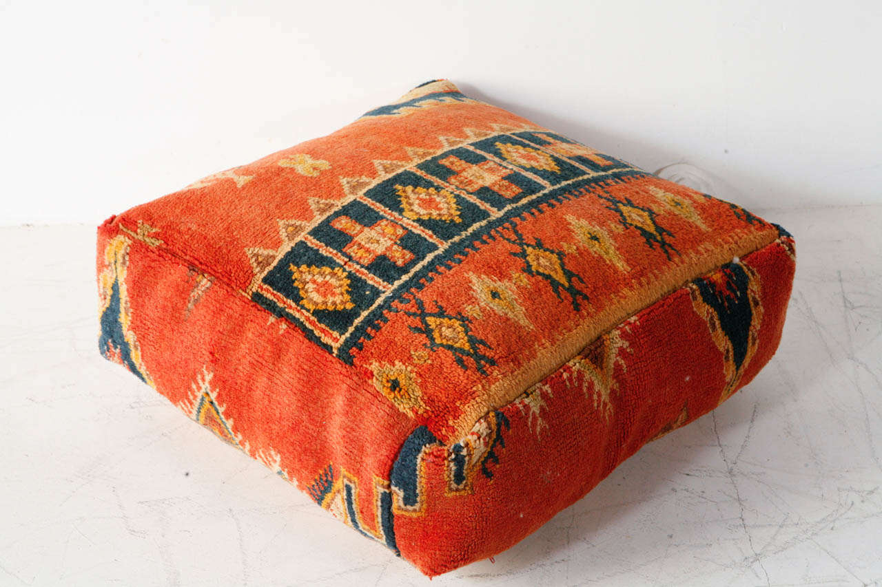 Various Vintage Moroccan Rug Poufs / Ottomans 8