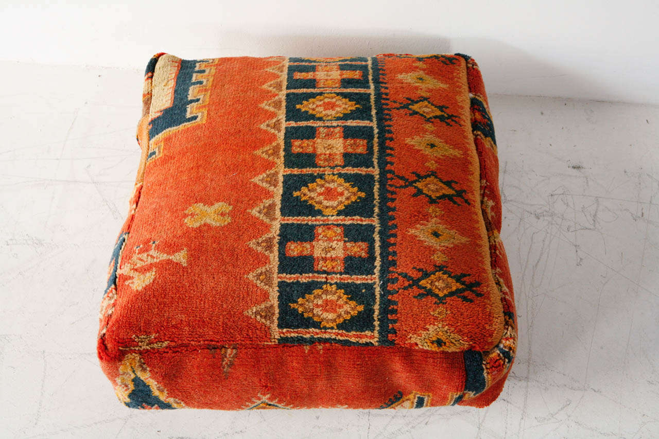 Various Vintage Moroccan Rug Poufs / Ottomans 9