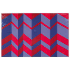 Bold Graphic Geometric Lithograph in Plexiglas Frame