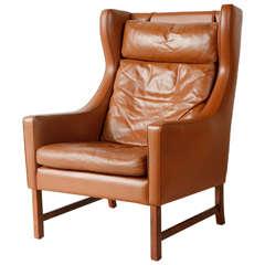 Vintage Borge Mogensen Style Leather Armchair
