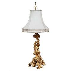 French Gilt Bronze Table Lamp Depicting Infant Bacchus Dionysus, France, 1880