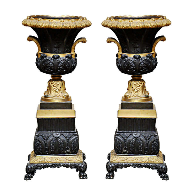 Pair of French Empire Bronze Urns