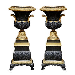 Pair of Empire Patinated and Gilt Bronze Urns, France, 1880
