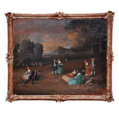 "19th Century German Landscape, ""Garden Party"" Oil on Canvas Painting"