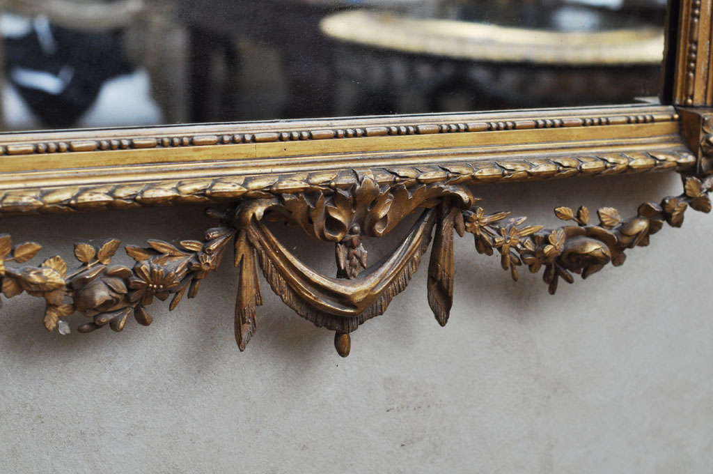French Louis XVI Style Gilded Mirror In Good Condition For Sale In Chicago, IL