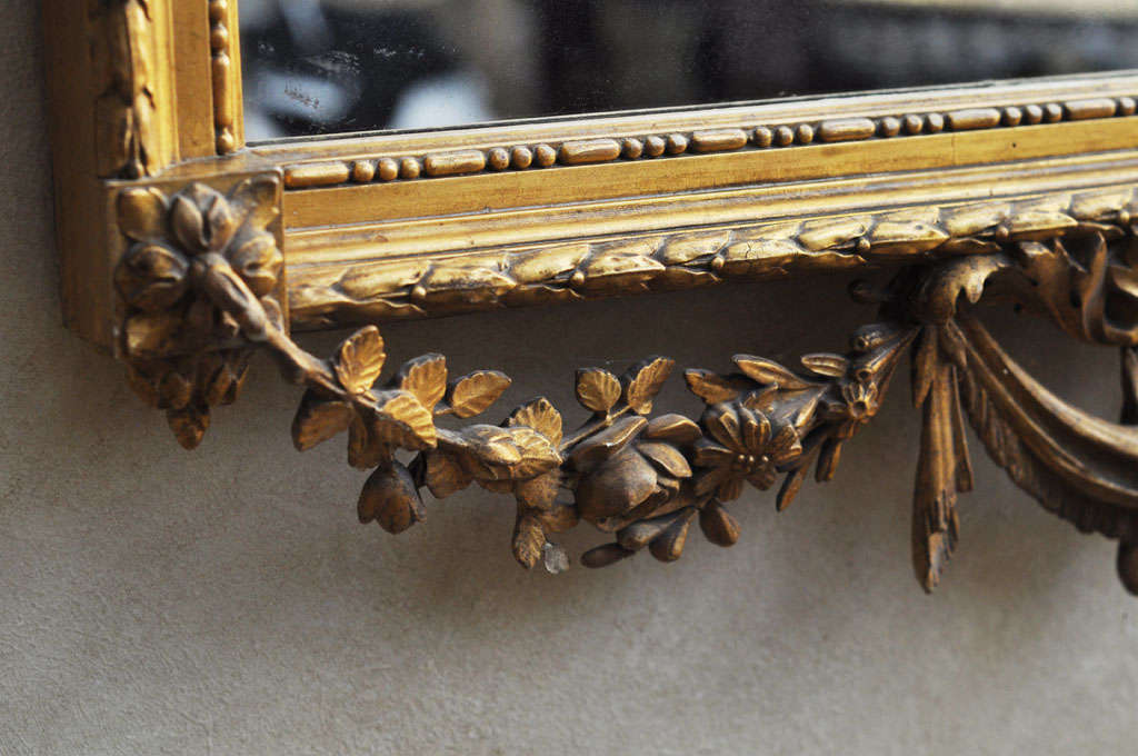 Giltwood French Louis XVI Style Gilded Mirror For Sale