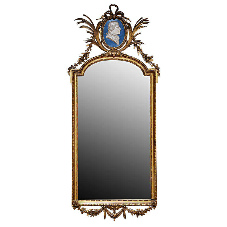 French Louis XVI Style Gilded Mirror For Sale