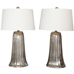 Exceptional Pair of Large Waterfall Mercury Glass Lamps