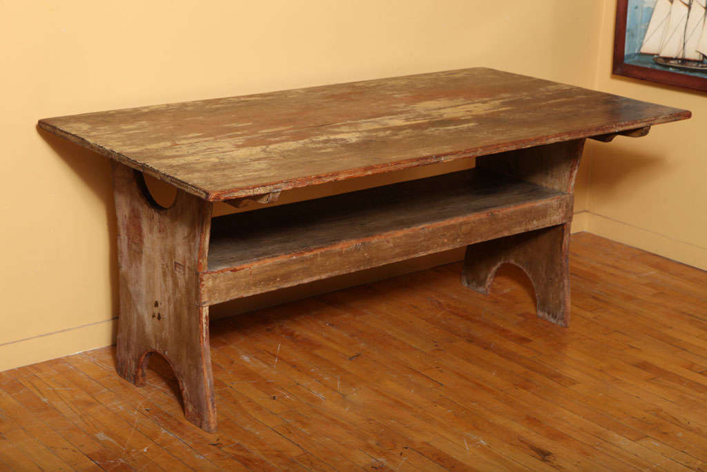 Pine hutch/chair table with traces of original mustard paint.  Pennsylvania origin.