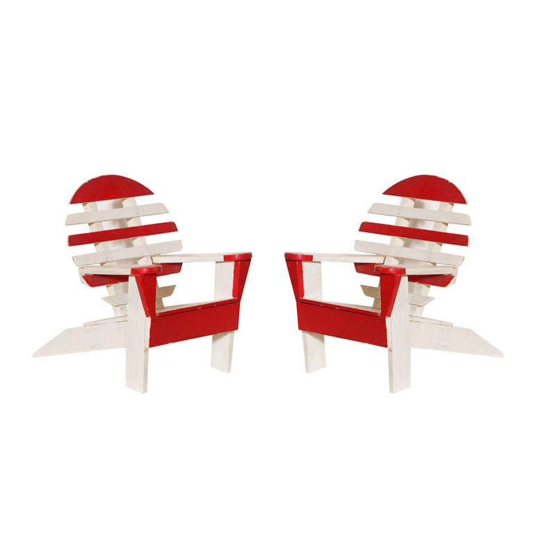 Pair of miniature adirondack chairs and single adirondack