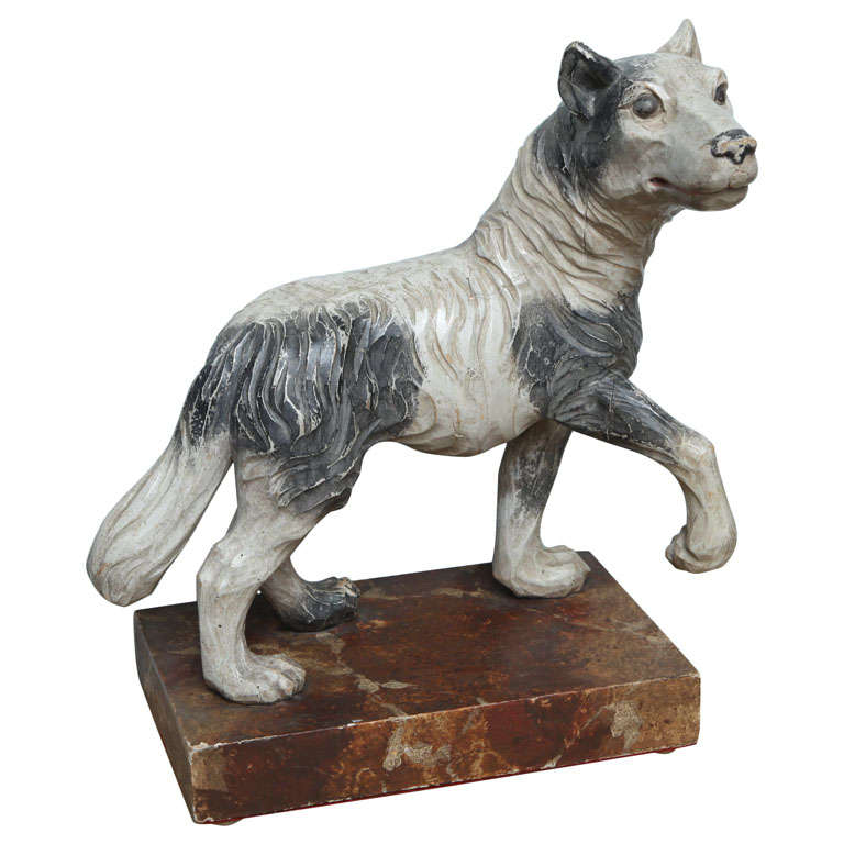 Th century italian carved wooden wolf for sale at stdibs