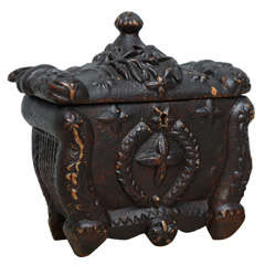 Wonderful Scottish Folk Art Tea Caddy