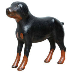 Folk Art Carved Wood Mastiff