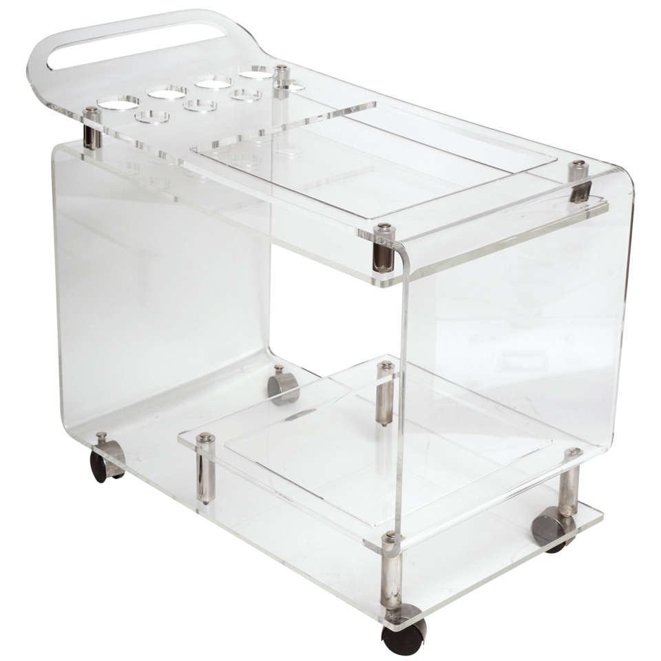 Mid Century Lucite Rolling Bar Cart At 1stdibs