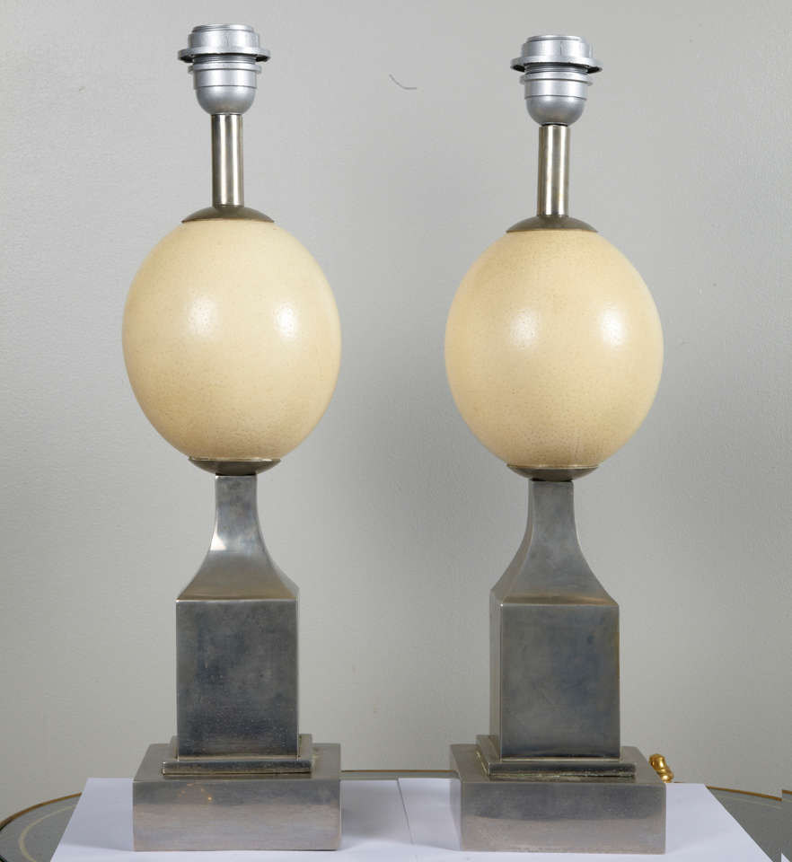 Pair of 1960s ostrich egg table lamps for sale at 1stdibs fine pair of ostrich egg lamps with steel base in style of david hicks production aloadofball Images