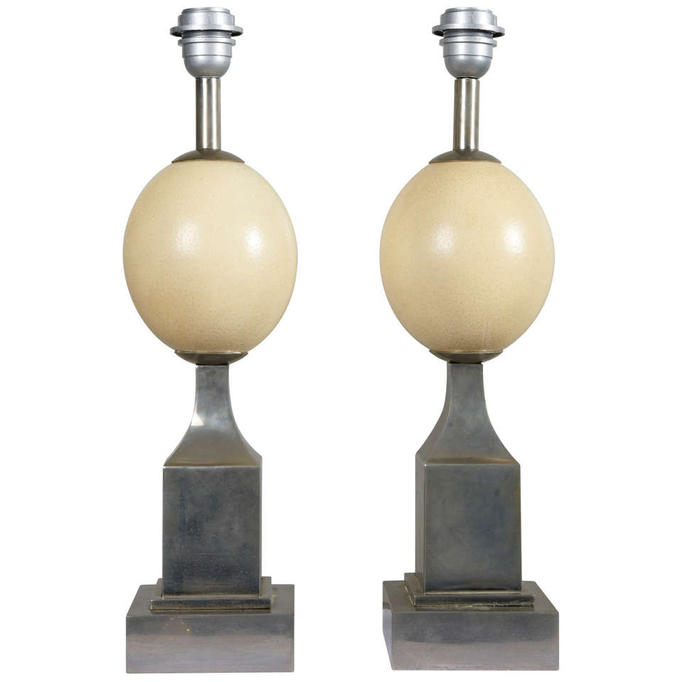 Pair of 1960s Ostrich Egg Table Lamps