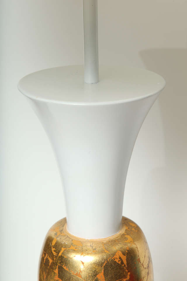 Monumental White And Gold Leaf Table Lamp For Sale At 1stdibs