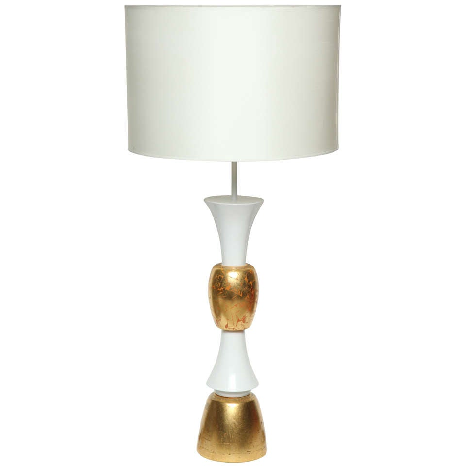 Monumental White & Gold Leaf Table Lamp