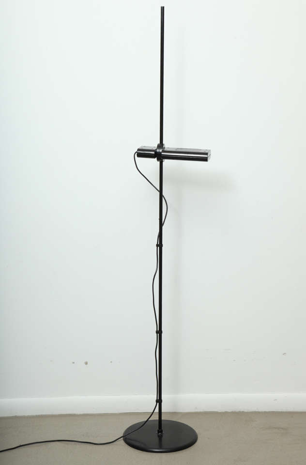 Italian Minimalist Black Floor Lamp by Artemide For Sale