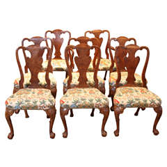 19th C Queen Anne Walnut Dining Chairs